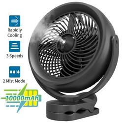 8 Inch 10000mah Portable Clip On Rechargeable Misting Fan For Study Desk Kids