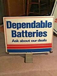 Vintage Western Auto Andldquodependable Batteriesandrdquo Tin Double Sided Display Sign -18x20
