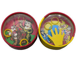 Vintage Double Sided Hand Held Dexterity Toy Game Chicken Clown Rabbit Bear