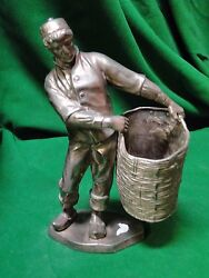 Silver Plated Figure Of A Middle Eastern Man With Basket 1850 Antique, French,