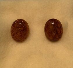 Cognac Tone Baltic Amber 14 Ct. Gold Clip Earrings From Denmark - New