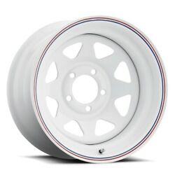 Unique 21 8 Spoke 16x7 6x139.7 Offset 0 White W/ Red And Blue Stripes Qty Of 4