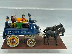 Vintage Cast Iron Circus Police Patrol- Clown Police W/ Wagon And Horses 4.75