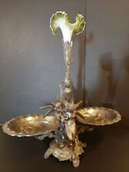 Absolutely Gorgeous Huge Antique Bronze Silverplated Centerpiece. Glass Flower