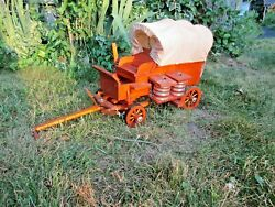 Vintage Canvas Covered Wooden Conestoga Pioneer Wagon W/brake Toy Lot