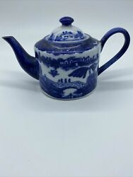 Large Antique Victoria Ware Ironstone Teapot Flow Blue And White