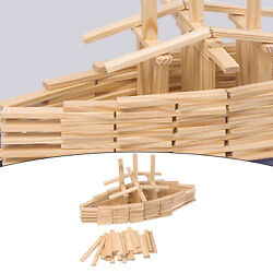150x Natural Wood Planks Set Building Andstacking Game House Boat Aircraft Toy