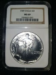 1989 American Silver Eagle / Ngc Ms69