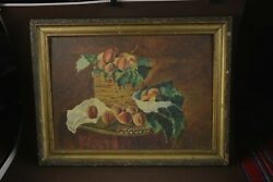 Oil Painting Still Life Peaches Antique 50's On Plywood 30x50 Centimeters