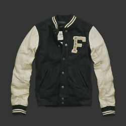 Abercrombie And Fitch Wool Blend Fully Padded Varsity Jackets Nwt Leather Sleeves
