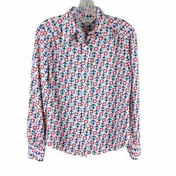 Vintage Jcpenney Womens 1970and039s Anchor Print Knit Button Up Nautical Medium Small