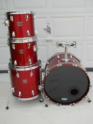 Tama 1980s Vintage 4 Pc.superatsr Candy Apple Red Lacquer Gloss Finish Japan