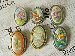 Vintage Hand Embroidered Brooches X 6 Cottagessnowdropsswanviolets Etc..