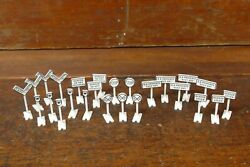 Lot Of 25 Lionel O Scale Assorted Model Train Railroad Crossing And Street Signs.