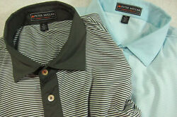 Lot Of Two Peter Millar Summer Comfort Golf Polo Shirts Xl Blue And Olive Stripes