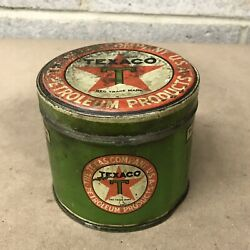 Antique Vintage Texaco Motor Cup Grease 1 Lb Tin Can Gas Oil Station