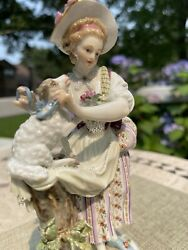 Signed Meissen Porcelain Figurine Of Women With Sheep