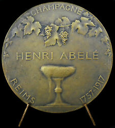 Medal Champagne Henri Abele And Saint Remy Blesses One Barrel 1917 Reims Medal