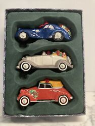 New Classic Roadsters Set Of 3 Cars Christmas Ornaments In Box Mint
