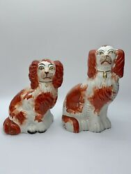 Pair Of Antique Staffordshire Spaniel Dog Figurines Red White English Victorian