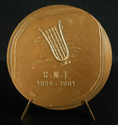Medal 1981 Confederate Musical French Cmf Hubert Yencesse 1900-1987