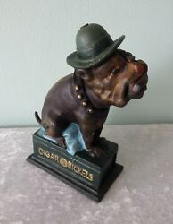 Ole Puffer Cast Iron Bulldog Mechanical Coin Bank Dog With Hat And Cigar Repro