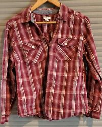 Women,s Croft And Barrow, Button Down Wine And Cream Checked Shirt, Sz L