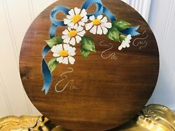 Wooden Lazy Susan Solid Wood Turntable Country Farmhouse Folk Art Handpainted Ex