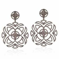 Antique Look Natural Pave Diamond Dangle Earring 925 Sterling Silver Jewelry