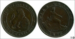 Spain 10 Cents 1870 Om Cu Mbc Vf+ Government Provisional 22