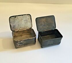 2 Antique Pelton Bros Silver Plated Snuff Boxes 1872-1900 Trinket Ring Box Pair