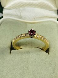 C19th Natural Burmese Ruby And Diamonds Set In Modern 18ct Gold Ring Size=j,us=5