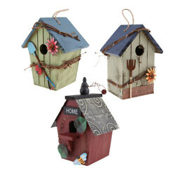 3pcs Hanging Wood Bird House, Retro Arts And Crafts Country Cottages Bird House,
