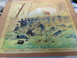 Civil War Soldierand039s Drawing Of The Battle At Shiloh Artist Fred R.ransom