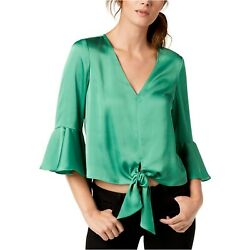 Bar Iii Womens Tie-front Knit Blouse Emerald Green Extra Small Flare Sleeve
