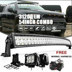 For Dodge Ram 1500/2500/3500 Roof 54inch Curved Led Light Bar Wiring+4 18w Pods