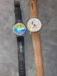 Vintage Mickey Mouse Watches Lot Of 2 Holographic Rare
