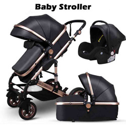 Baby Stroller 3 In 1 Carriage High Landscape Pu Leather Aluminum Alloy Frame