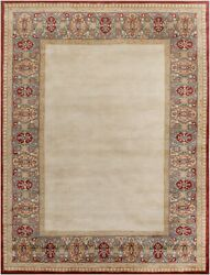 Pottery Barn Borderd Rug Beige Oriental Handmade Wool Floral Area Rug 8and039 X 10and039