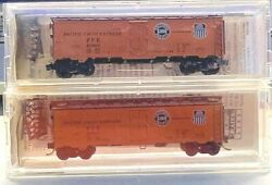 2 Micro Trains N Scale 40' Steel Side Ice Reefer Pfe Up And Southern Nib