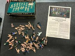 Vintage Plasticville O Gauge People Figures Painted Bare In Box Pf-4