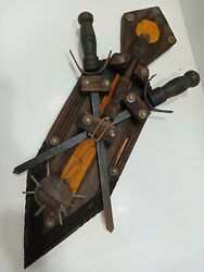 Vintage Medieval Sword Shield Wall Decor Plaque Weapons Man Cave Wood Mace L