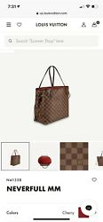 Louis Vuitton Damier Ebene Neverfull MM Shoulder Hand Bag with Red Interior $1250.00