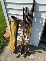 Set Of 9 Antique Hickory Wood Shaft Golf Clubs With Stovepipe Bag + 8 Vtg Clubs