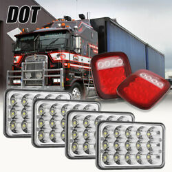 4x6 Led Headlight Hi/low Beam And Red Trailer Tail Brake Light For Kenworth Truck