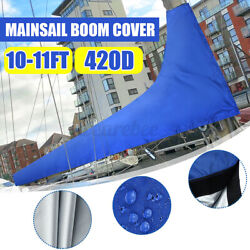 Premium Quality 10 To 11 Feet Sail Cover Boat Yacht Boom Mainsail Cover Blue Us