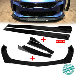Gloss Black Front Rear Bumper Spoiler +86.6and039and039 Side Skirt+rear Lip For Kia K5