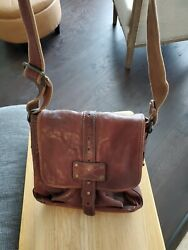 FOSSIL MESSENGER CROSSBODY BROWN LEATHER BAG MENS WOMENS $65.00