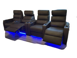 2 2-seat Leather Home Theater Recliner Dual Tilt Led Lights Cup Holder Table