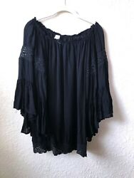 SURF GYPSY Beach Boho Off Shoulder Black Tunic Cover Up Lace Trim Over Size S $29.00